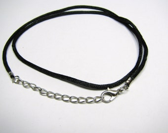 "Black Satin Pendant Charm Cord - 18"", Satin Charm Necklace Cord, Pendant Cord"