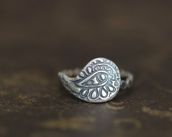 Paisley Ring, Sterling Silver, Embossed Textured, Bohemian, Stacking Ring, Funky Everyday Ring