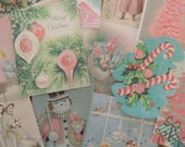 12 Pc. Vintage PINK CHRISTMAS Die Cuts for Crafts Cardmaking | X18 | Free Shipping | Old Paper Cat