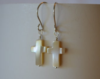 Mother of Pearl Cross Earrings Wire Wrapped Hand Made Sterling Silver French Wires Genuine Stone