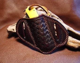 CMEHolsters Slant Mahogany Custom Tooled Leather Knife Sheath