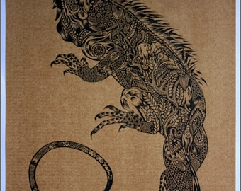Thai traditional art of Iguana by printing on sepia paper