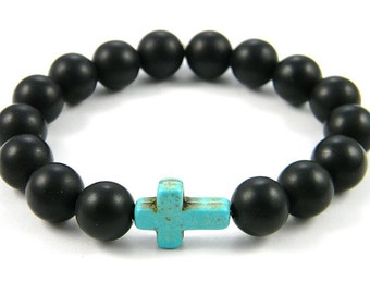 REDUCED Onyx beaded and cross bracelet (Handmade in the USA)