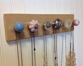 Jewelry Organizer / Wall Hooks / Pink and Blue Knobs on Cedar