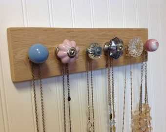 Jewelry Organizer / Wall Hooks / Pink and Blue Knobs on Cedar
