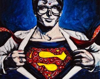 """Superman, Dia de los Muertos 8""""x10"""" Photo Reproduction"""