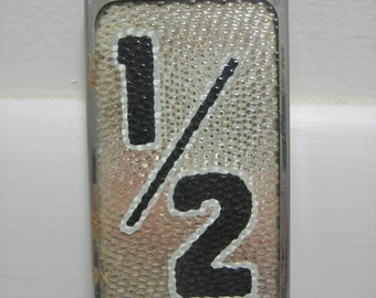 Vintage Reflective Glass House Numbers 1/2 One Half NOS