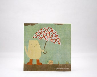 STICKY NOTEPAD: Cat Holding an Umbrella for his Snail Buddy - Cute Gift, Funny, Stocking Stuffer