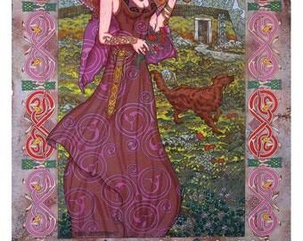 "Celtic Irish Fantasy Art Print MAEVE, Queen of Connaght. 8x11""."