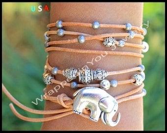 Lucky ELEPHANT Leather Boho Bracelet - Adjustable Multi Wrap Leather Elephant Button Bracelet - Bohemian Bracelet - COLOR / SIZE - USa 48