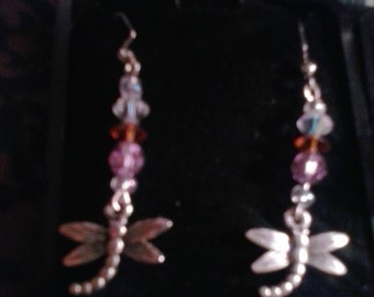 Handmade  Silver Dragonfly Earrings with orange beads