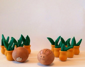 Bunny and growing carrots wooden miniature bowling, Waldorf inspired