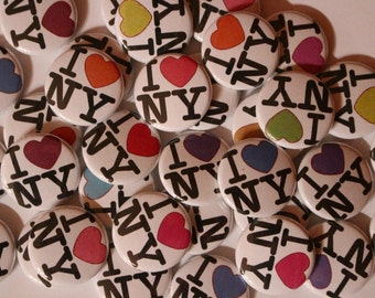 15 I Love New York Flatback or Pinback buttons 1 inch badge