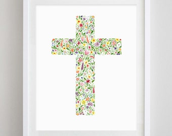 Cross Floral Watercolor Art Print