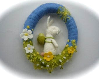 Easter Wreath. Bunny. Spring .Fairy . Needle Felted. Waldorf.Wool