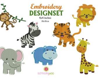 Animal Embroidery, Embroidery design animal, African, Elephant Embroidery Design, Giraffe, Zebra, Lion, Elephant, Monkey, Hippo, Tiger