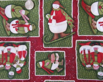 1 Yard Snowman Christmas Fabric by Debbie Mumm      destash 214