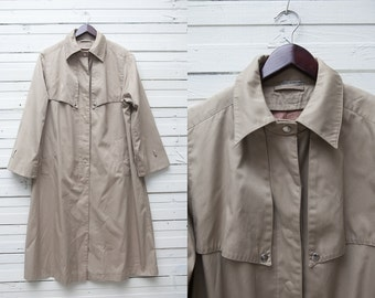 Classic Rain Coat / Long Trench Coat / Classy Trenchcoat / Vintage Beige Long Clip Up Trench Coat / 1980s Women's Trench Coat / Size L Large