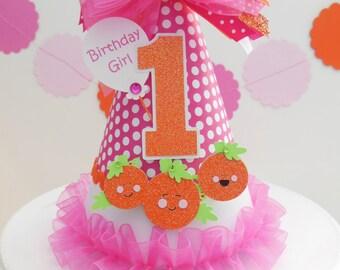 Lil' Hot Pink Pumpkin Patch Halloween Birthday Party Hat - Hot Pink Polka Dot, Orange Glitter, Chevron- Personalized