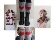 VALENTINES DAY GIFT! Heart gloves, Gift for her, gift package, arm warmers, heart hat, wool beanie, heart leggings, heart scarf, winter hat.