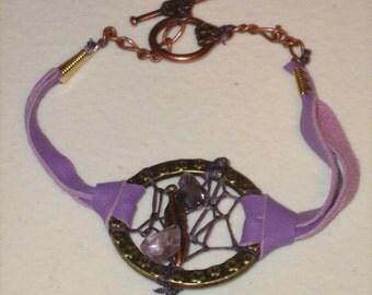 Charm Bracelet Dream Catcher, dreamcatcher bracelet choose from purple or green,sizes available
