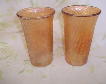 2 Tree of Life Marigold Carnival Glass Tumblers