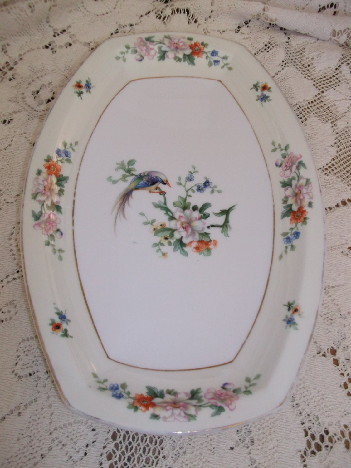 Heinrich Amp Co Selb Bavaria Songbird Platter Floral Sprays And