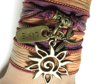 Sun Silk Wrap Bracelet Yoga Jewelry Dragonfly Jewelry Summer Bohemian Hippie Beach Earthy Wrist Band Live Spiritual Christmas Gift For Her