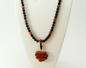 Hand carved wood beaded heart necklace