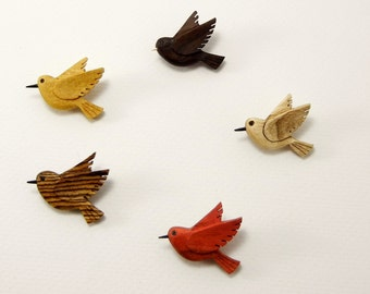 Hand carved wood bird pin