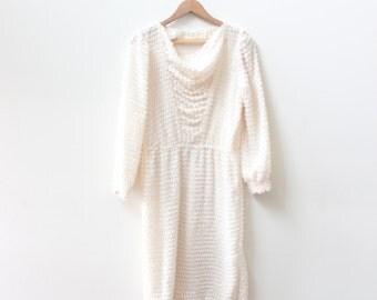 White 60s Fuzzy Navel Dress