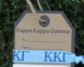 Gift Tag - 2 Hair Tie Kappa Kappa Gamma Sorority Bid Gift Party Favor Greek Week