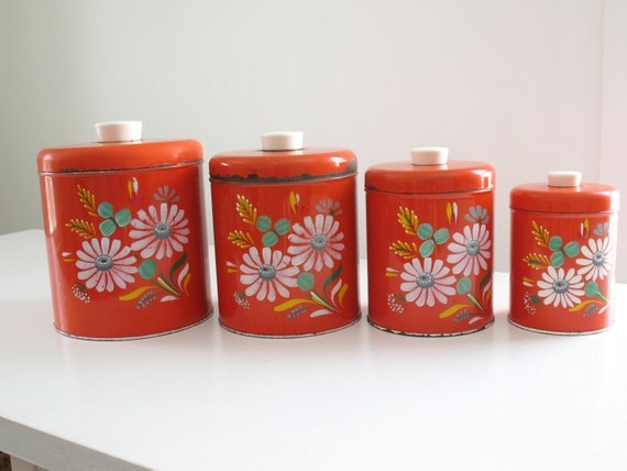 vintage ransburg red floral canister set four hand painted