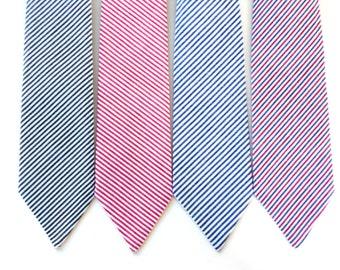 Neck tie for boys, baby neck tie, seersucker ties for kids, red tie, navy tie, custom neck tie, ring bearer tie, boys nautical photo prop
