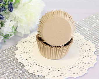 "Paper Cupcake 2"" Muffin Cupcake Liners, Baking Cups, Natural, Unbleached, Standard Size"