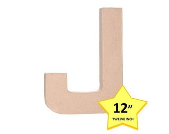 12 Inch Paper Mache Letter J - Carboard Letters - Craft Supplies