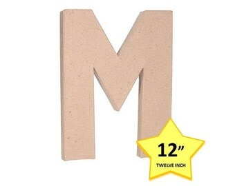 12 Inch Paper Mache Letter M - Cardboard Letters - Craft Supplies