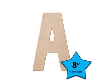 Paper Mache Cardboard Letters 8 Inch - Letter A - Paper Craft Party Decor Supplies