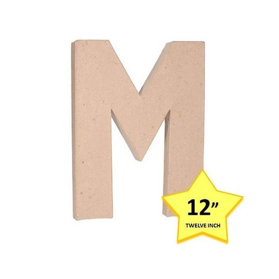 12 inch paper mache letter m cardboard letters craft supplies