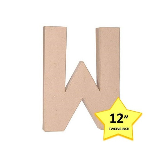 Paper mache cardboard letters 12 inch letter w paper for 24 cardboard letters