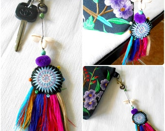 Star Hmong With Multi Tassel Keychain Zip Pull Bag Accessory shell & pom pom. (AC1028)