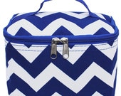 Free Personalization! Monogramed Small Cosmetic Bag,Case, Makeup bag:  royal blue chevron