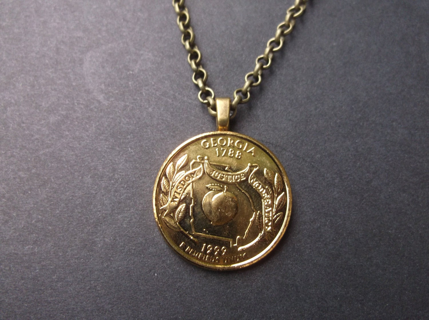 Georgia United States Gold Colored Quarter Coin Necklace