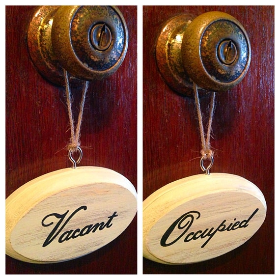 Vacant occupied double sided bathroom sign cream for Bathroom occupied sign