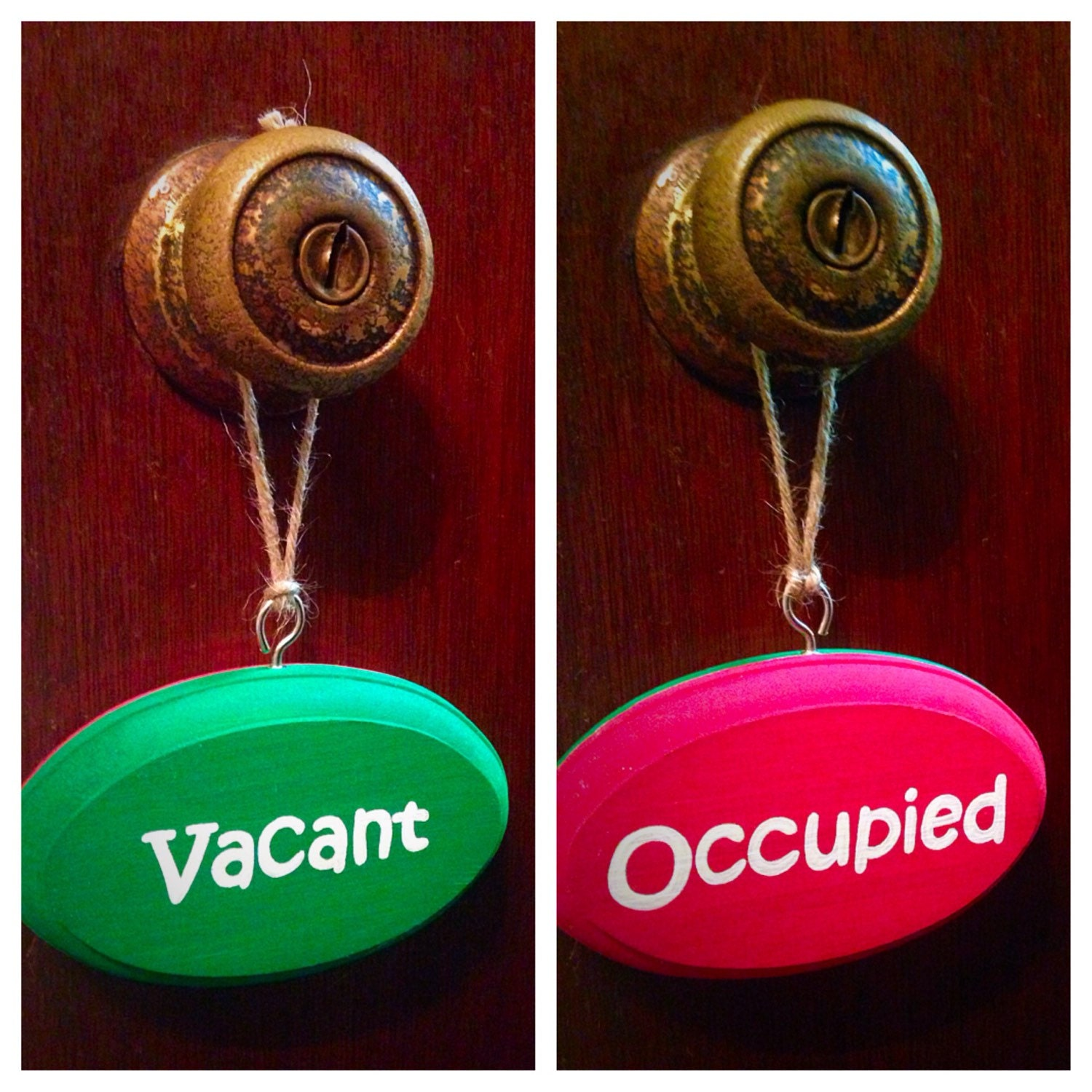 Vacant occupied double sided bathroom sign red green kids for Occupied bathroom sign