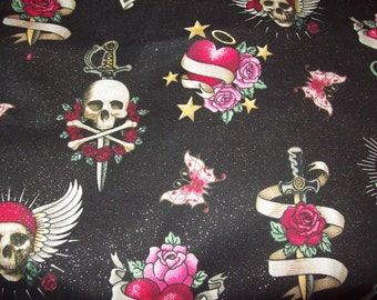 Black background glamour tatoo scrub top, any size