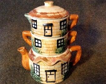 Vintage Stackable Teapot - Creamer, Sugar, Teapot - 4 Piece Cottage Tea Pot
