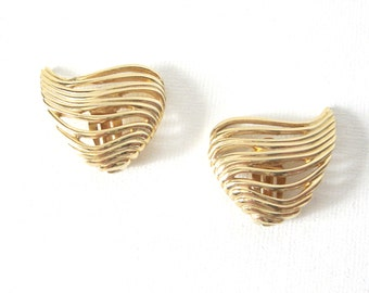 Vintage Givenchy Winged Heart Gold Tone Clip On Earrings