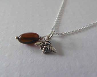 Sterling silver Bee charm and Amber necklace. Handmade jewellery