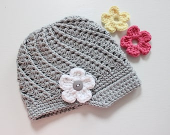 Interchangeable Flower Baby Crochet Hat, Newsboy Style, Tan Baby Hat, COLOR of your CHOICE, Baby/Toddler Girl, Girl Newsboy Hat with Flowers